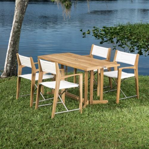 outdoor teakwood folding deck set