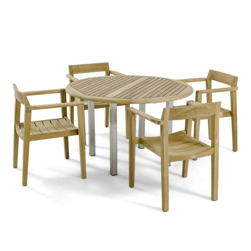 round teak table set for sale