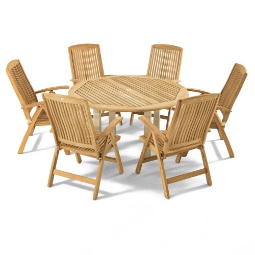 teak wood reclining set 6