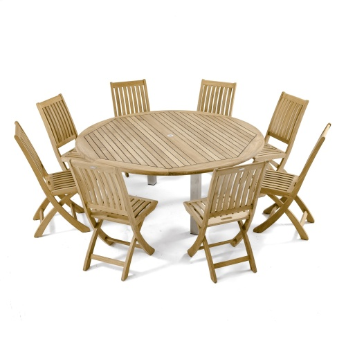 round teak conversation table set