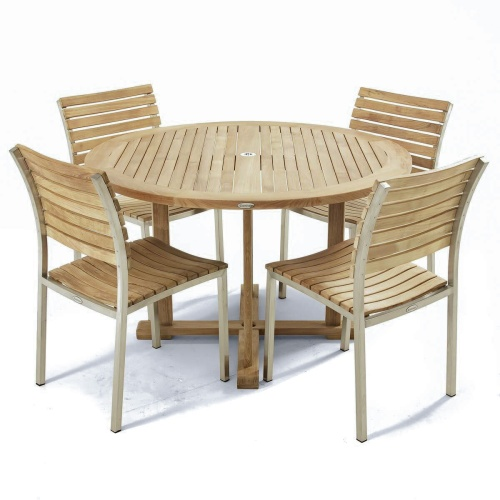 Vogue 4 ft Round Teak Stainless Steel Dining Set