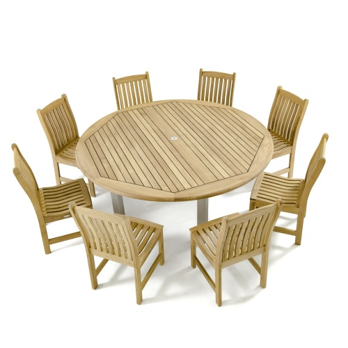 round wooden dining set for 8