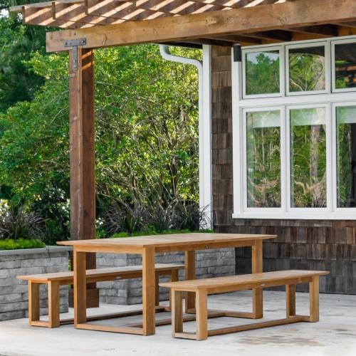 Horizon Extendable Teak Bench Set Westminster Teak - Teak picnic table with benches