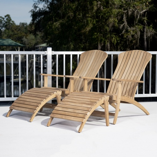 teak adirondackchair with moveable footrest