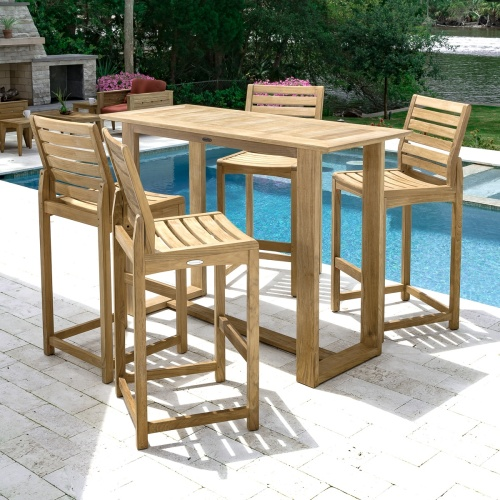 5 piece rectangular teak wood patio bar set