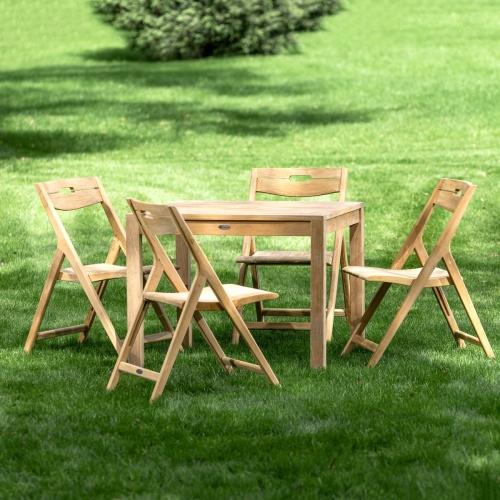 square teak wood table set 4