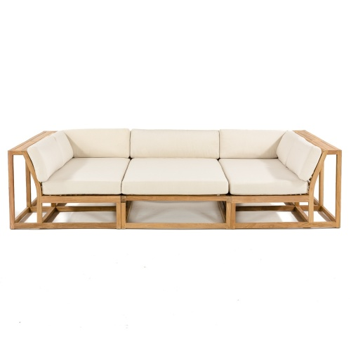 teak deep seating sofa outside