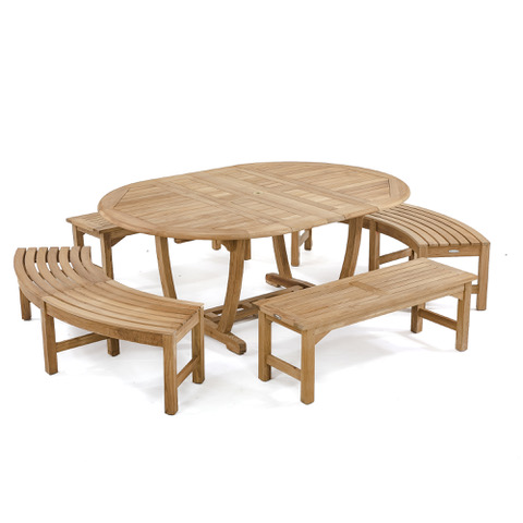grade a teak curved bench patio set