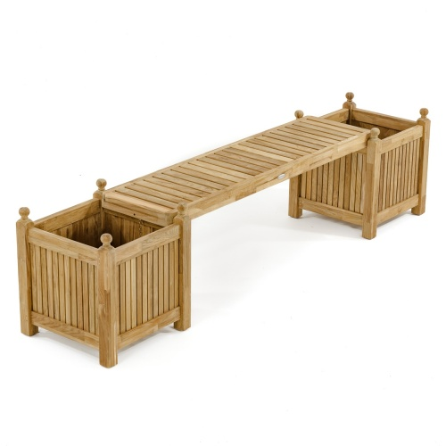 teak bench seat panel with planter boxes