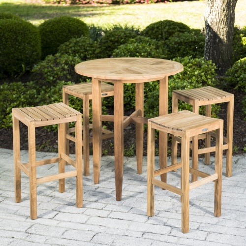 Somerset Teak Backless 5pc Bar Set