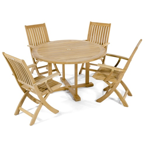 teak round dining deck set for 4