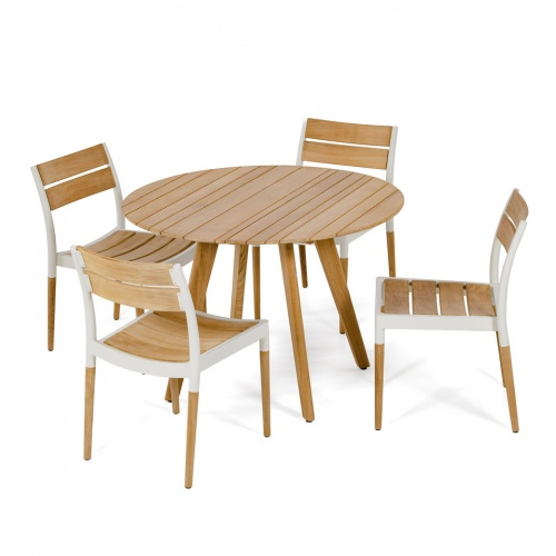 teak aluminum outdoor round sets for 4
