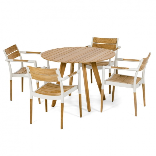 teak aluminum dining round sets for 4