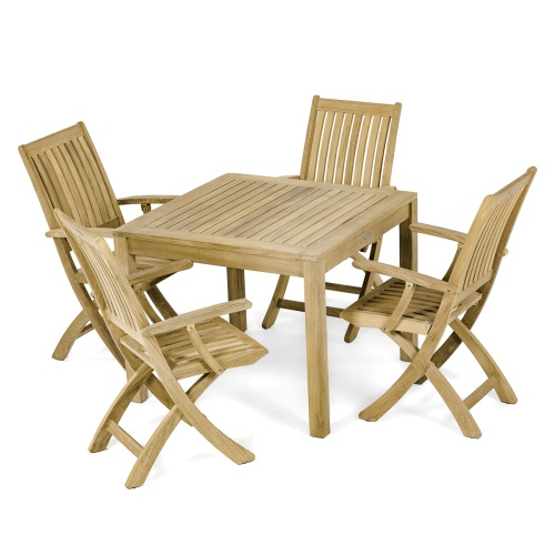 square teakwood dining table set for 4
