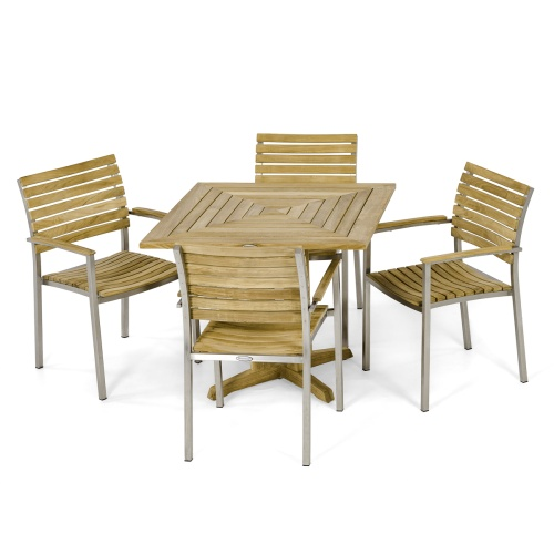 stainless steel and teak furniture set outdoor