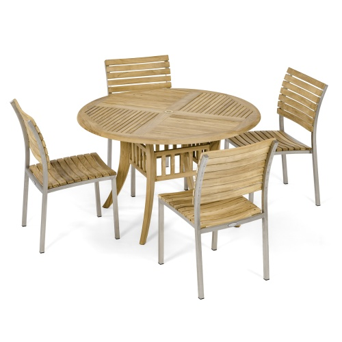 teak round patio dining set