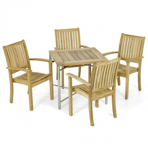 Odyssey Sussex teak stainless steel Dining Chair Set