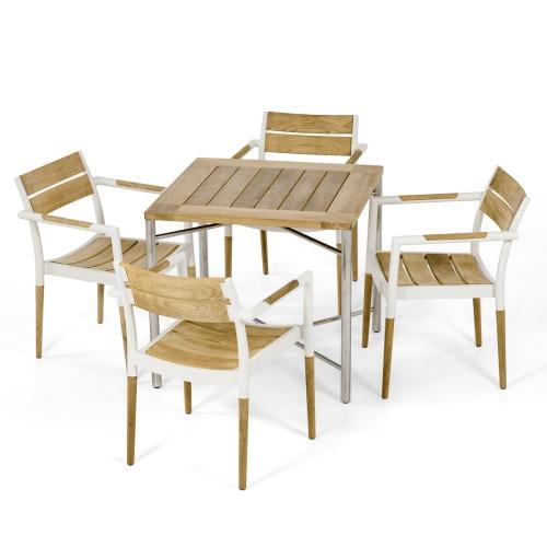 teak aluminum patio dining sets
