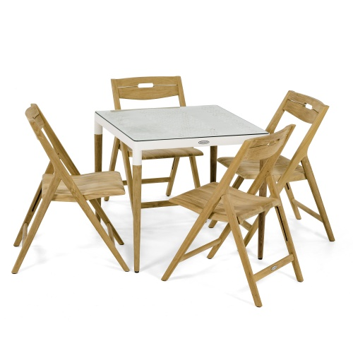 teak aluminum square patio folding set