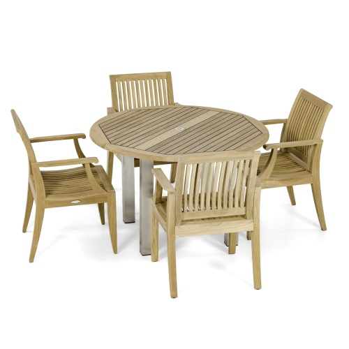 Round 48 inch patio deck set for 4