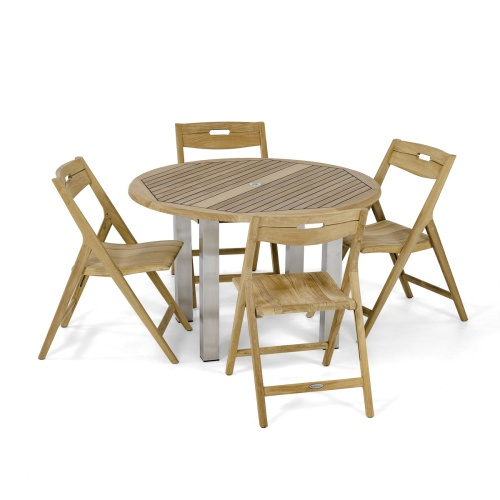 Round 48 inch patio Folding set for 4