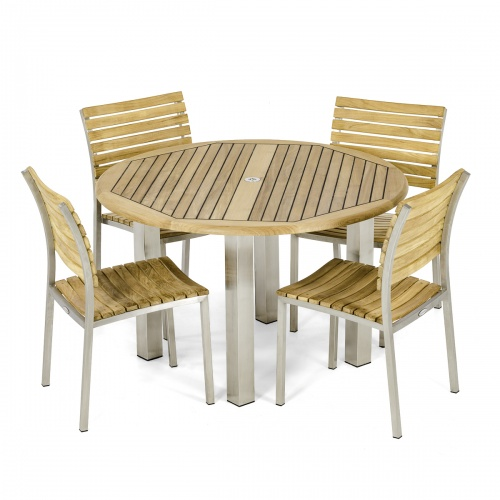 teak round dining table set for 4