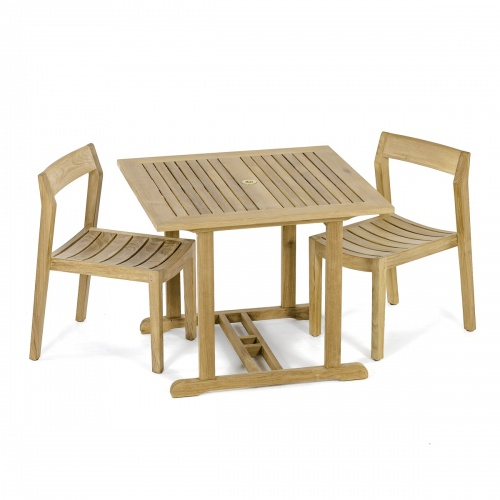 teak top bistro table and chair set