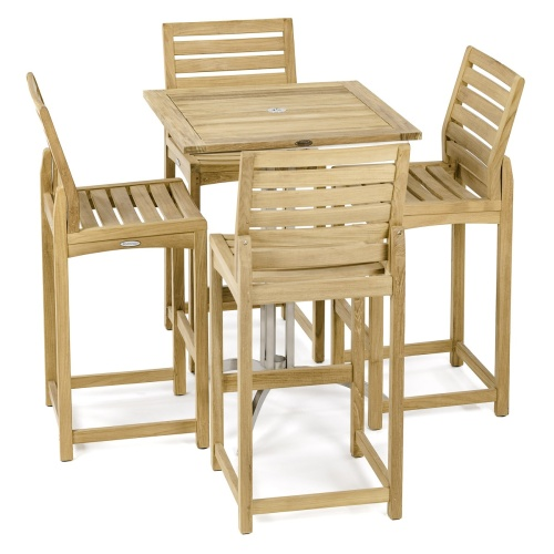 Square Teak Side Barstool Set