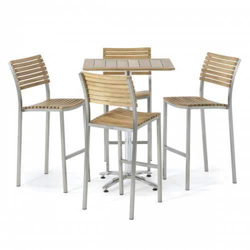 4 Pc Rectangular teak and stainless steel bar set