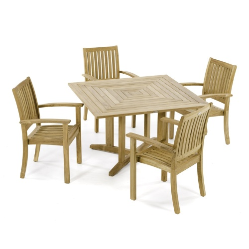 Square teakwood dining table and chairs set