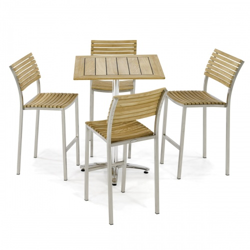 Square 3 Piece Teak and Stainless Steel Patio Bar Set