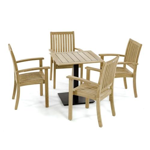 teak cafe table set for 4