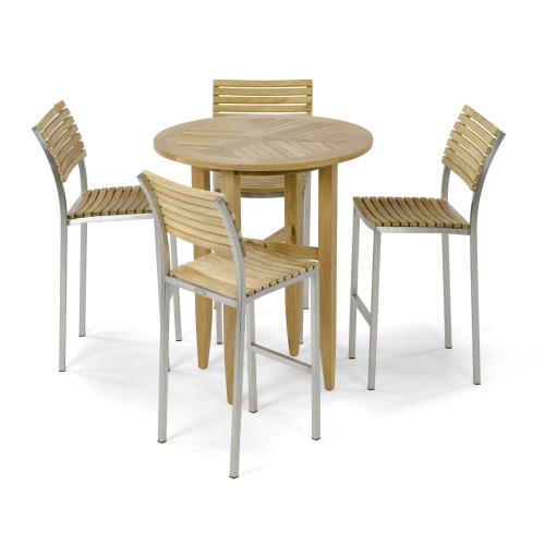 5 Pc Round Teak Bar Table And Stool Set Westminster Teak