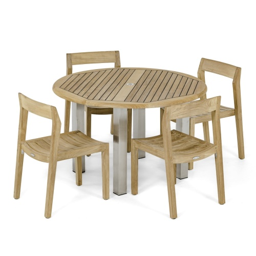 5 piece teak round patio dining furniture set