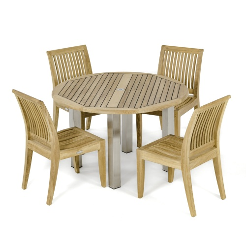 round teak table with chairs