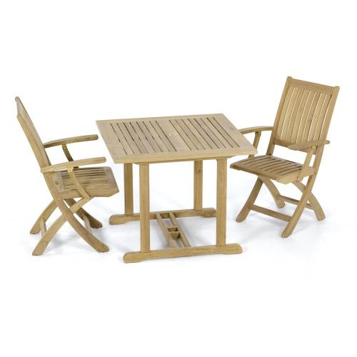 teak bistro chair set 2
