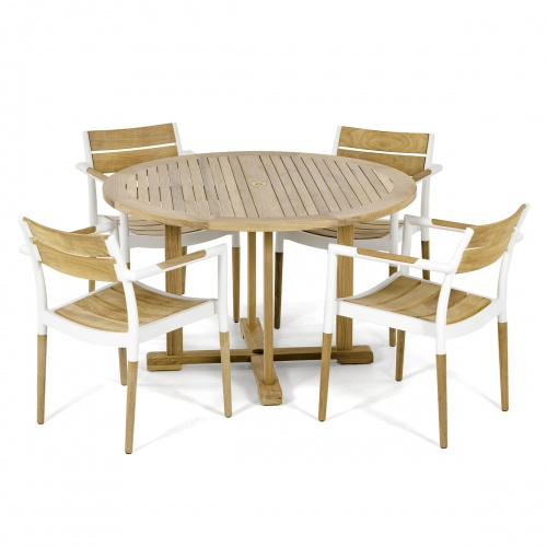 teak aluminum powder coated patio dining set