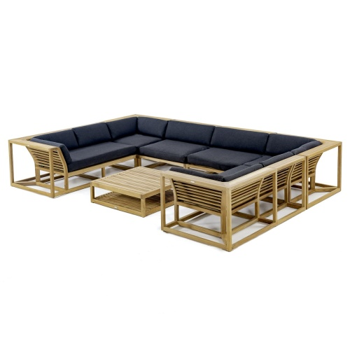 Modern outdoor teak sectional