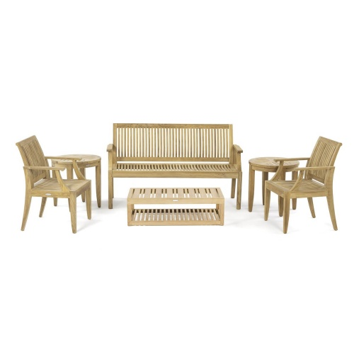 6 pc Teak Bench and Chair Set