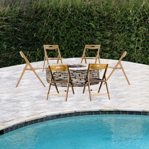 teak wooden firepit chair set for 6