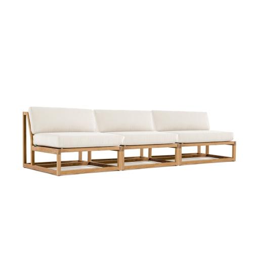 teak armless sofa