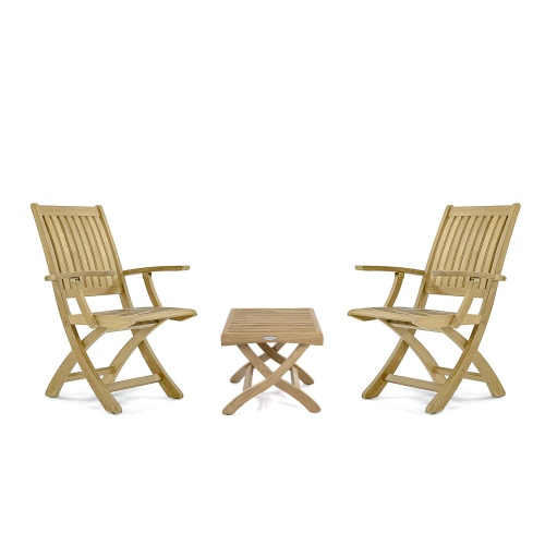 Barbuda Teak Folding Chat Set