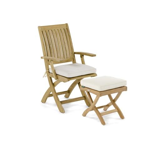 Teak Chair and Ottoman Set