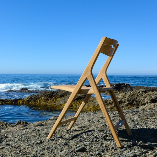folding teak dining side chair