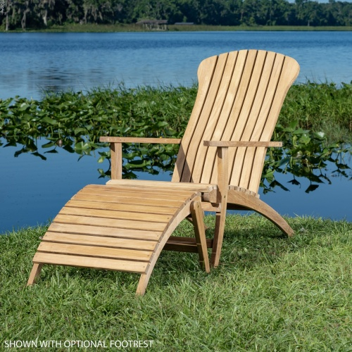 teak adirondack patio chair and footrest