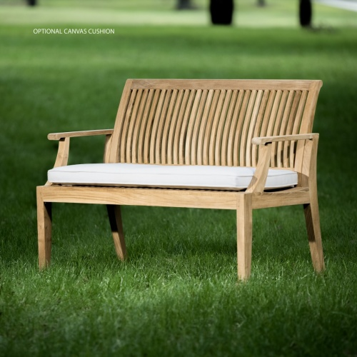 teak wooden slatted bench with back