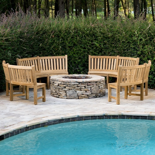 Teak Curved Benches Outdoor