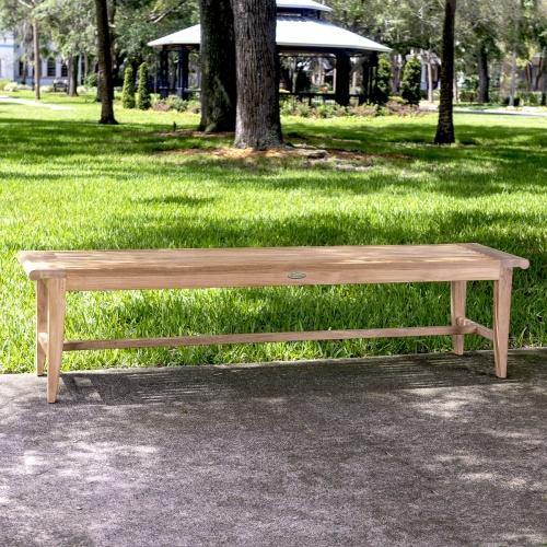 teak slatted backless bench