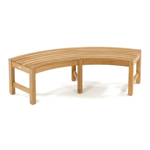 curved armless teak outdoor bench