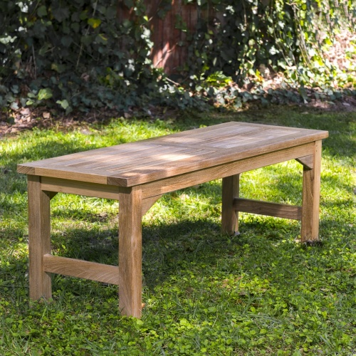 backless wooden garden bench